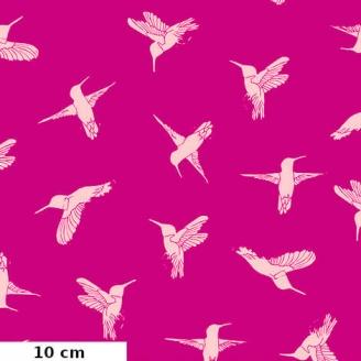 Tissu patchwork colibris en vol fond fuchsia - Murmur de Valori Wells