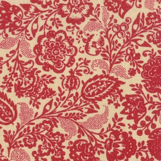 Tissu patchwork fleurs rouge carmin fond beige - Chafarcani de French General