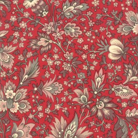 Tissu patchwork fleurs anciennes fond rouge - Chafarcani de French General