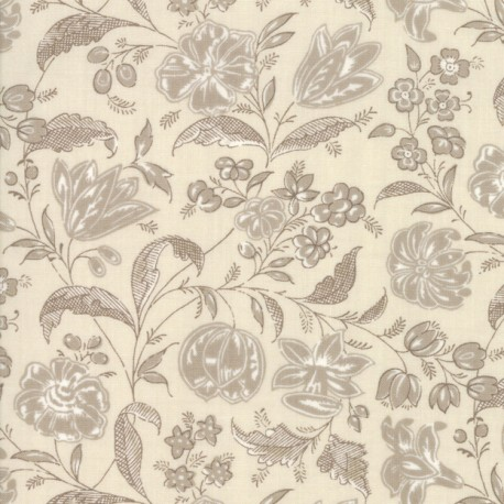Tissu patchwork fleurs beiges fond écru - Chafarcani de French General