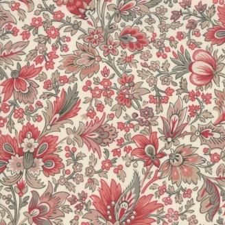 Tissu patchwork fleurs anciennes rouges fond écru - Chafarcani de French General