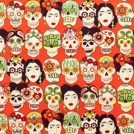"""Tissu patchwork têtes de morts mexicaines fond rouge """"Gotas de amor"""""""