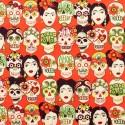 """Tissu patchwork têtes de mort mexicaines fond rouge """"Gotas de amor"""""""