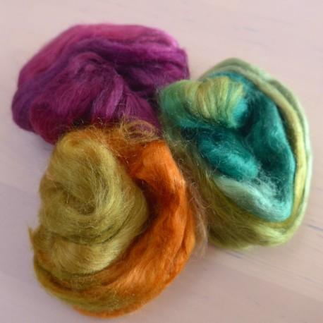 Soies Tussah teintes - mélange 3 couleurs - Landes