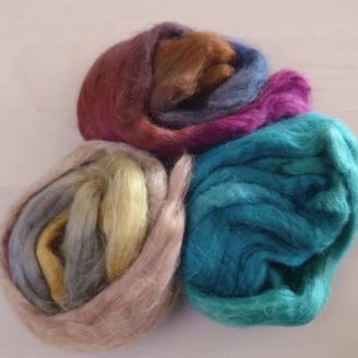 Soies Tussah teintes - mélange 3 couleurs - Marais salant
