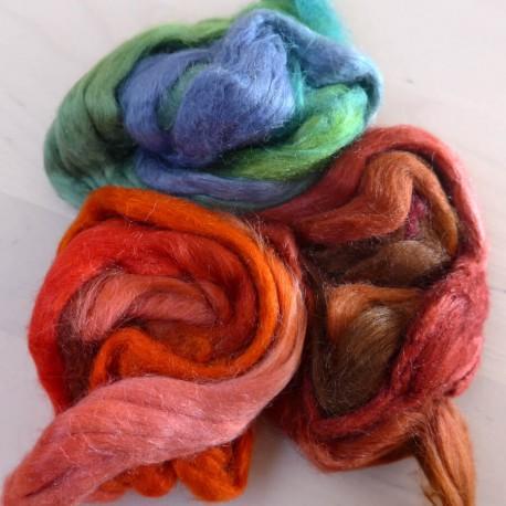 Soies Tussah teintes - mélange 3 couleurs - Roseraie