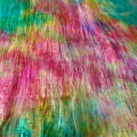 Feuille en fibres de cocons de soie multico turquoise rose