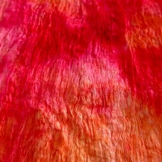 Feuille en fibres de cocons de soie fuchsia orange