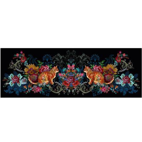 Velours Odile Bailloeul Duo chats arabesques 50 x140 cm