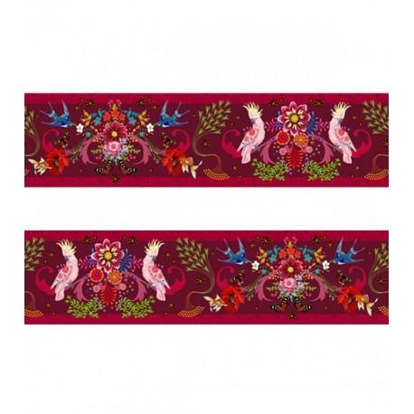 Bande de Velours Odile Bailloeul Volière enchantée rose - 50 cm
