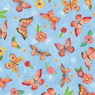 Tissu patchwork papillons oranges fond bleu - Floral Flight