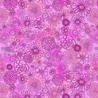 Tissu patchwork fleurs variées ton sur ton rose - Floral Flight
