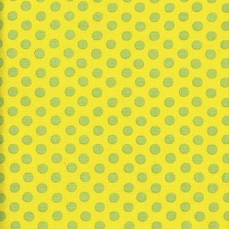 Tissu Kaffe Fassett pois verts fond jaune Spot GP70