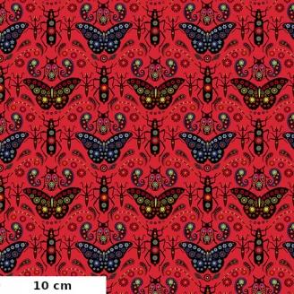 Tissu patchwork Odile Bailloeul joyaux (insectes) fond rose - Land Art