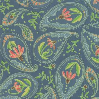 Tissu patchwork échinacée rouge fond gris - Painted Meadow de Moda