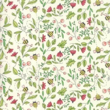 Tissu patchwork abeilles et fleurs fond blanc - Painted Meadow de Moda