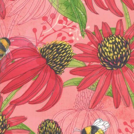 Tissu patchwork grandes abeilles et fleurs fond rouge - Painted Meadow de Moda