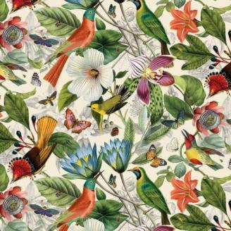Tissu patchwork oiseaux et fleurs exotiques fond écru - Secret Escape