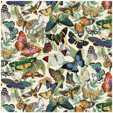 Tissu patchwork la serre aux papillons fond écru - Secret Escape
