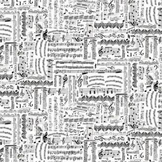 Tissu patchwork partition de musique en noir et blanc