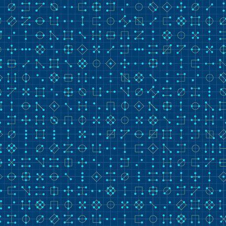 Tissu patchwork symboles géométriques fond bleu - Declassified