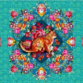 Tissu Odile Bailloeul Chat Malabar turquoise