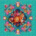Tissu Odile Bailloeul Chat Malabar turquoise - 57 x 140 cm