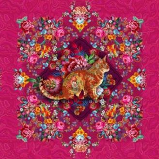 Tissu Odile Bailloeul Chat Malabar rose - 57 x 140 cm
