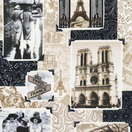Tissu patchwork Paris antique