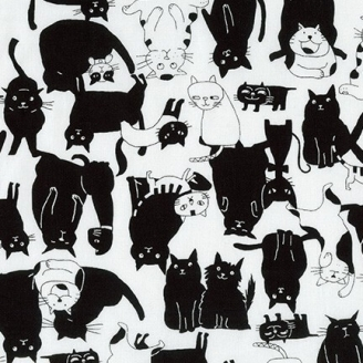Tissu patchwork chat noirs et blancs - Whiskers and tails