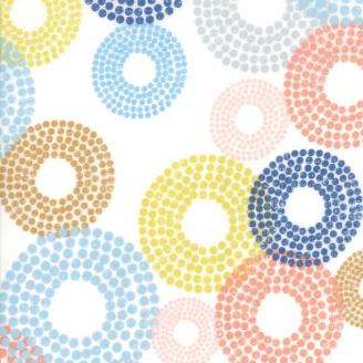 Tissu patchwork cercles de pois multicolores fond blanc - Breeze de Zen Chic