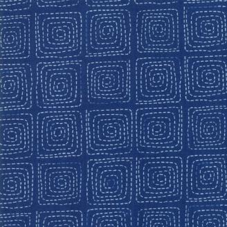 Tissu patchwork tourbillons carrés fond bleu - Breeze de Zen Chic