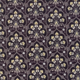Tissu patchwork fleurs Kitten Heel fond noir - Stiletto de Basic Grey