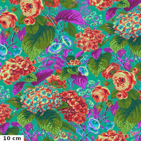 Tissu patchwork Philip Jacobs Rose and Hydrangea PJ097 vert