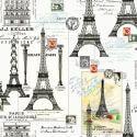 Tissu patchwork tour Eiffel et cartes postales - Couturière Parisienne