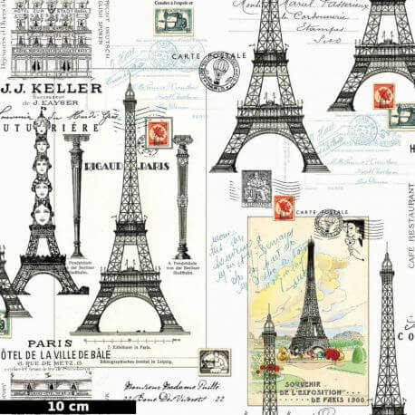 Tissu patchwork tour Eiffel et cartes postales - Couture Parisienne