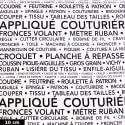 Tissu patchwork la couture en quelques mots fond blanc - Couturière Parisienne