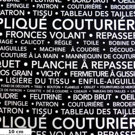 Tissu patchwork la couture en quelques mots fond noir - Couture Parisienne