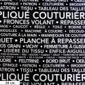 Tissu patchwork la couture en quelques mots fond noir - Couturière Parisienne