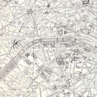 Panneau de tissu Plan de Paris rétro - Couturière Parisienne