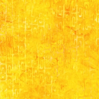 Tissu Batik maillons jaune d'or ton sur ton