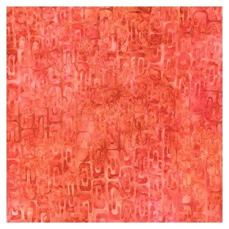 Tissu Batik maillons rouge pastèque ton sur ton