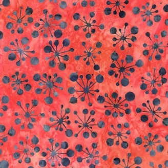 Tissu Batik supernova grise fond rouge pastèque