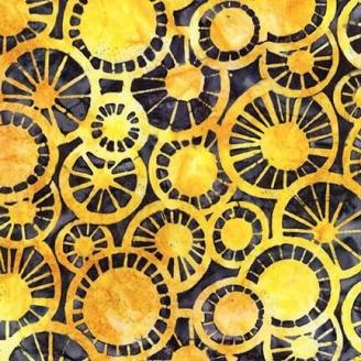 Tissu Batik chapeaux chinois jaunes fond noir