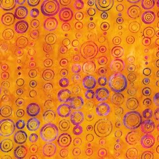 Tissu Batik cercles fuchsia violet fond jaune d'or