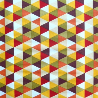 Tissu patchwork triangles jaune olive rouge