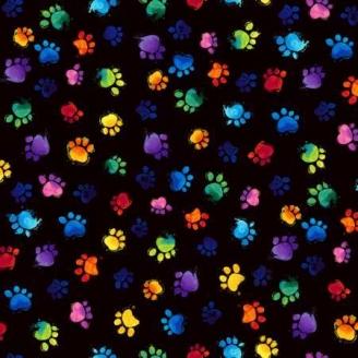 Tissu patchwork pattes de chats multicolores fond noir
