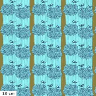 Tissu patchwork graines pour oiseaux fond bleu - After the rain de Bookhou