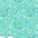 Tissu patchwork fleurs cachemire turquoise - Carnivale blue