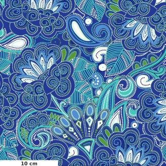 Tissu patchwork fleurs cachemire bleu saphir - Carnivale blue